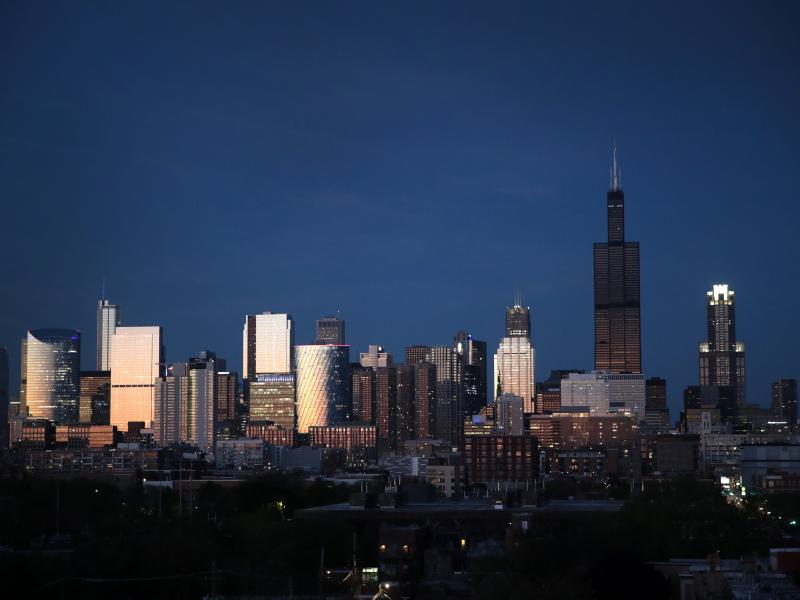 The Willis Tower rises above the downtown skyline on May 20, 2020 in Chicago. The Willis Tower, constructed as the Sears Tower, was once the world's tallest building.