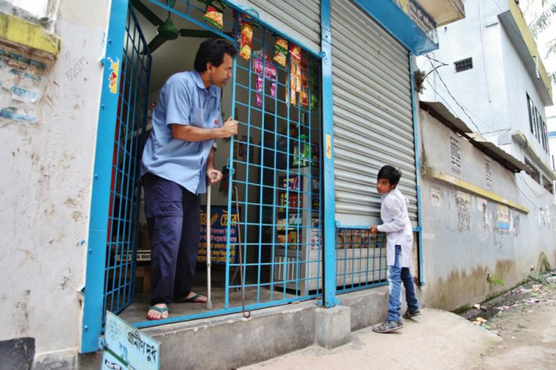 Shahjahan Selim was injured as he helped rescue survivors of the Bangladesh factory collapse. Today he runs a small grocery shop on the outskirts of Dhaka, the capital city.