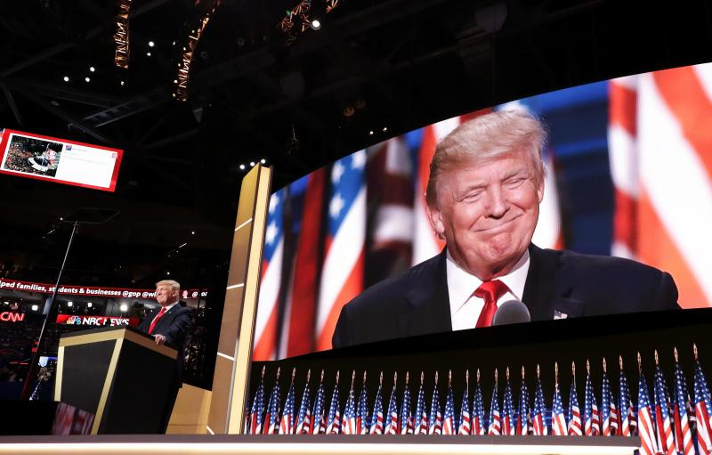 Republican presidential candidate Donald Trump delivers his speech on the final evening of the Republican National Convention in Cleveland.