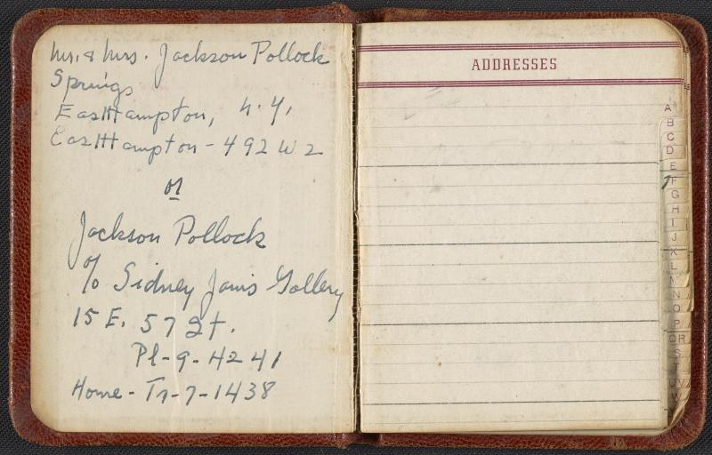 Jackson Pollock and Lee Krasner's address book, circa 1950-1956