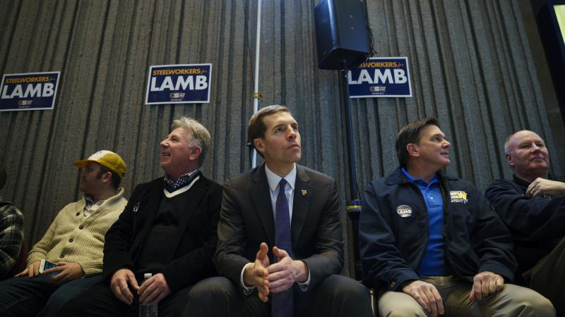 Democrat Conor Lamb at a rally at the United Steelworkers Building in Pittsburgh on Friday. Lamb is running in a tight race against Republican Rick Saccone in a district that Democrats haven't contested since 2012.