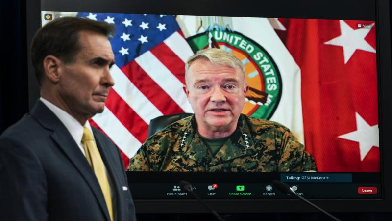 The Pentagon has retreated from its defense of a drone strike that killed multiple civilians in Afghanistan last month. Gen. Frank McKenzie, who's shown here on screen in August as he speaks from MacDill Air Force Base, in Tampa, Fla., head of U.S. Centra