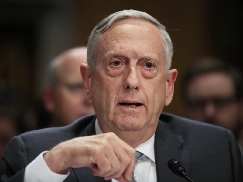 Secretary of Defense Jim Mattis testifying in October 2017 on Capitol Hill about immigrant military recruits.
