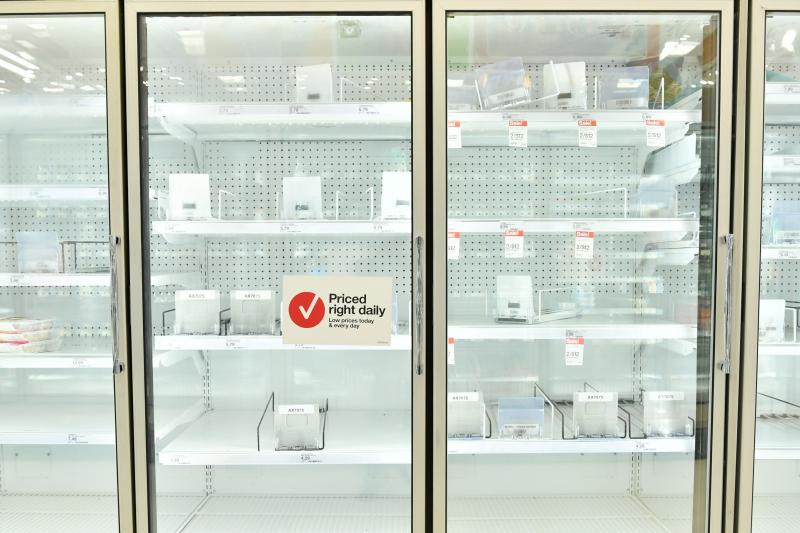 Empty shelves at a Target in Burbank, Calif., on March 14, 2020. Many people across the U.S. are approaching the one-year anniversary of the moment they went into lockdown and realized life as they knew it had changed.