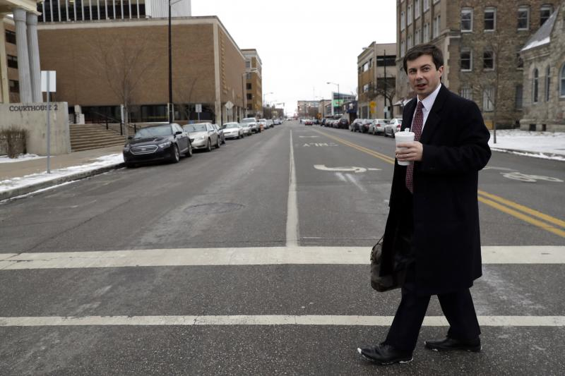 Mayor Pete Buttigieg in downtown South Bend, Ind., in January, 2019. First elected in 2011, Buttigieg has based his presidential candidacy, in part, around the revival of South Bend that he's helped engineer.