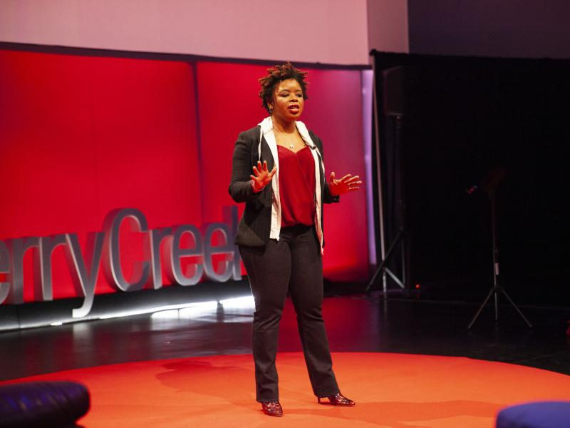 Phylecia Jones on the TED stage.