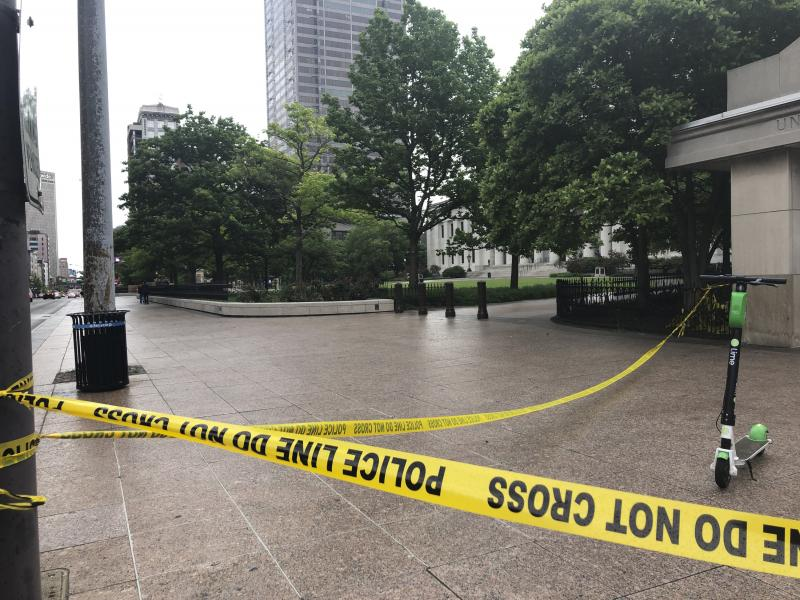 Police tape marks the corner of the Ohio Statehouse in Columbus last May after protests over the death of George Floyd. Columbus Police are investigating the shooting death of a Black man last week by a Franklin County Sheriff's deputy.