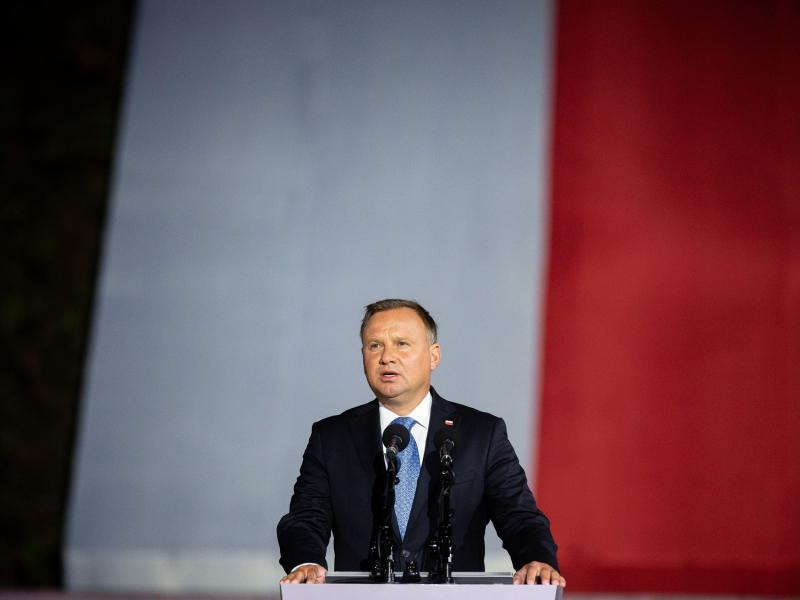 Polish President Andrzej Duda speaks to a crowd in September. Duda is in isolation after testing for the coronavirus.