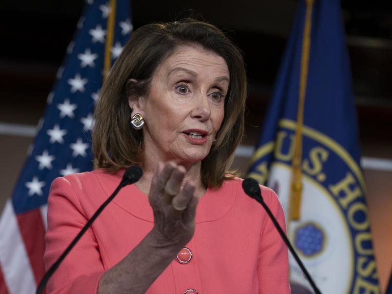 Speaker of the House Nancy Pelosi talks to the media at a news conference on Capitol Hill on May 2.