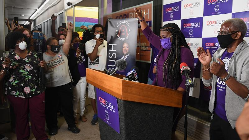 Cori Bush gives her victory speech at her campaign office on Tuesday in St. Louis.