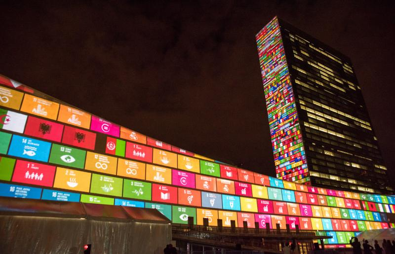 Last year, the U.N. projected images of the Sustainable Development Goals on its headquarters.