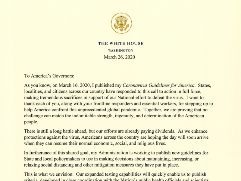 President Trump's letter to U.S. governors about the coronavirus.