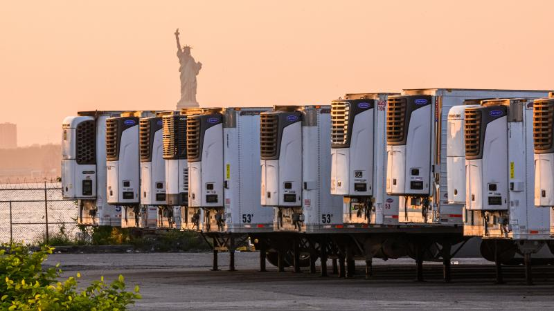 "The Statue of Liberty is visible behind refrigeration trucks that function as temporary morgues at New York City's South Brooklyn Marine Terminal. ""If you're driving by ... you might just assume that this was some sort of distribution hub,"" Time reporter"