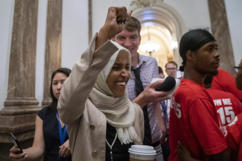 Rep. Ilhan Omar, shown here at the Capitol on Thursday, has been a target of racist rhetoric from President Trump.