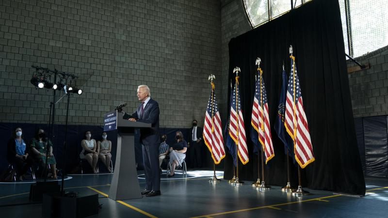 Former Vice President Joe Biden, the presumptive Democratic nominee, speaks during an event about affordable health care in Lancaster, Pa., on June 25.