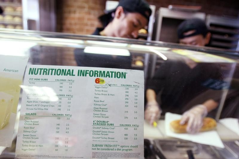 A sign displaying calorie counts is seen in a Subway restaurant in New York City in 2008. A yet-to-be-finalized federal rule requiring big chain restaurants to post calorie counts has likely led eateries to tweak their menus.