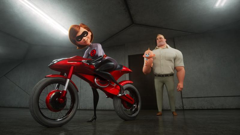 Don't Wait Up: Elastigirl (voiced by Holly Hunter) prepares to do some derring-do, leaving Mr. Incredible (voiced by Craig T. Nelson) to his stay-at-home-superdad duties, in The Incredibles 2.