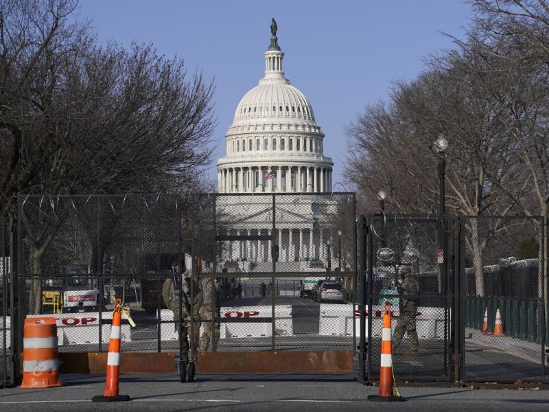 Security fencing surrounds the Capitol following the Jan. 6 insurrection. A new assessment commissioned by House Speaker Nancy Pelosi, D-Calif., suggests a mobile fencing system that could be adapted based on threats.
