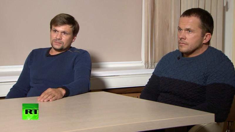 A still image taken from a video released by the RT TV shows two Russian men who say they are Ruslan Boshirov (left) and Alexander Petrov. British police accuse the pair of being intelligence officers who tried to kill former KGB spy Sergei Skripal.