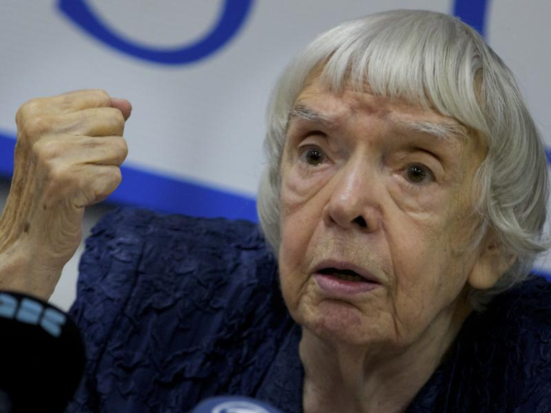 Russian human rights activist Lyudmila Alexeyeva speaks at a news conference in Moscow in 2012. She died Sunday at the age of 91.