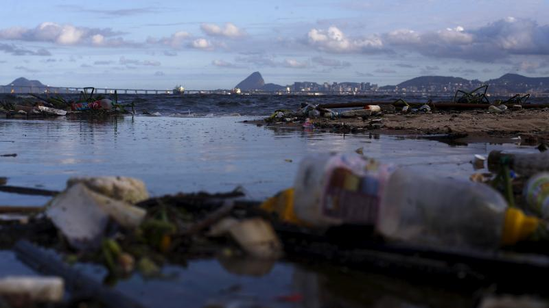 Concerns about pollution in the waters around Rio have prompted the world sailing federation to take action ahead of next year's Olympic Games. Here, garbage is seen on Bica Beach, on the banks of the Guanabara Bay, with the Sugar Loaf mountain in backgro