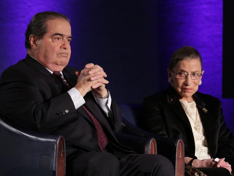 Conservative Justice Antonin Scalia and his longtime liberal dueling partner, Justice Ruth Bader Ginsburg, in 2014.