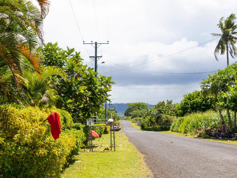 Red flags hang outside homes in Apia, Samoa, indicating that the residents have not been vaccinated for measles.