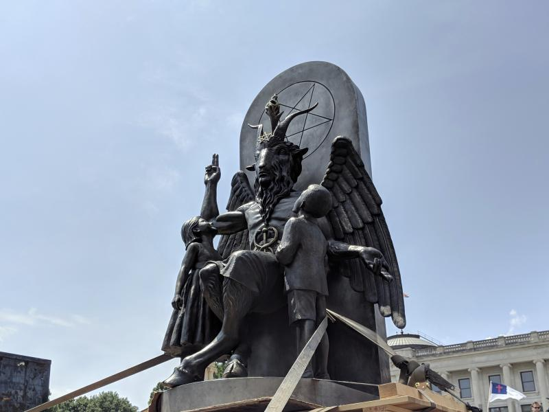 The Satanic Temple says a statue in Chilling Adventures of Sabrina bears too close a likeness to the temple's statue of Baphomet, shown here in Little Rock, Ark.