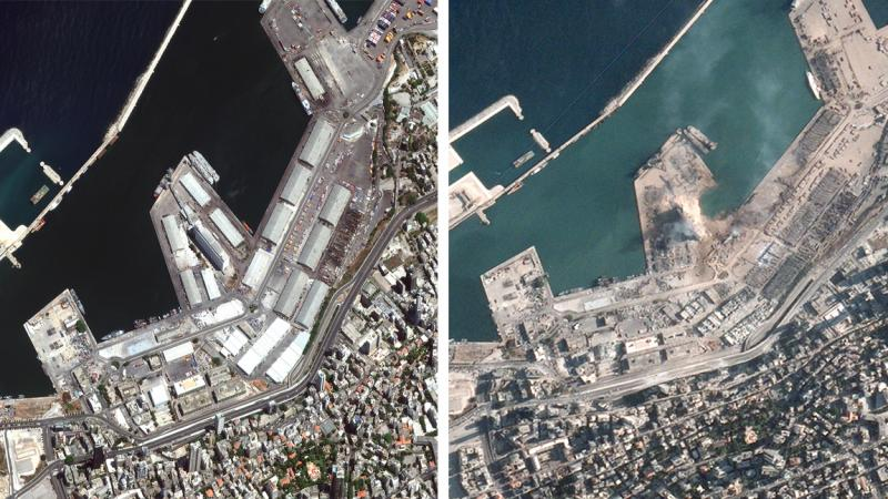 Beruit's port before (left) and after Tuesday's explosion (right).