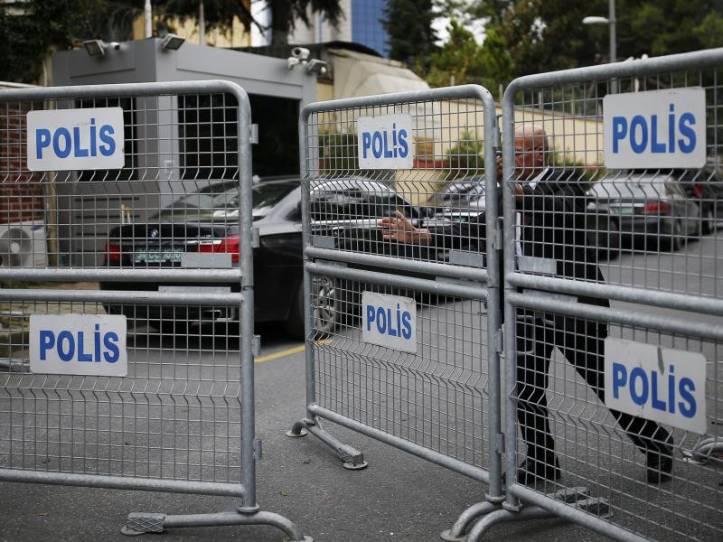 A blocked road in Istanbul leads to the Saudi consulate. Jamal Khashoggi, a prominent critic of Saudi Arabia's crown prince, visited the consulate earlier this week and has not been seen since.