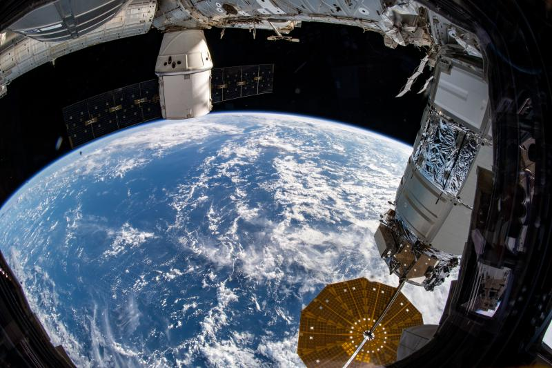 The SpaceX Dragon cargo spacecraft that ferried musclebound mice to the International Space Station and back can be seen at the top of this picture taken from the station on Dec. 20, 2019.