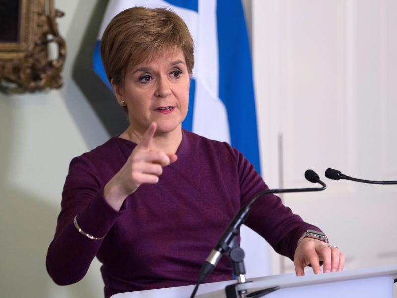 Scottish National Party leader and Scotland's First Minister Nicola Sturgeon is calling for a second referendum on Scottish independence, saying voters endorsed the idea during the U.K.'s recent elections. Sturgeon is seen here Thursday at Bute House in E