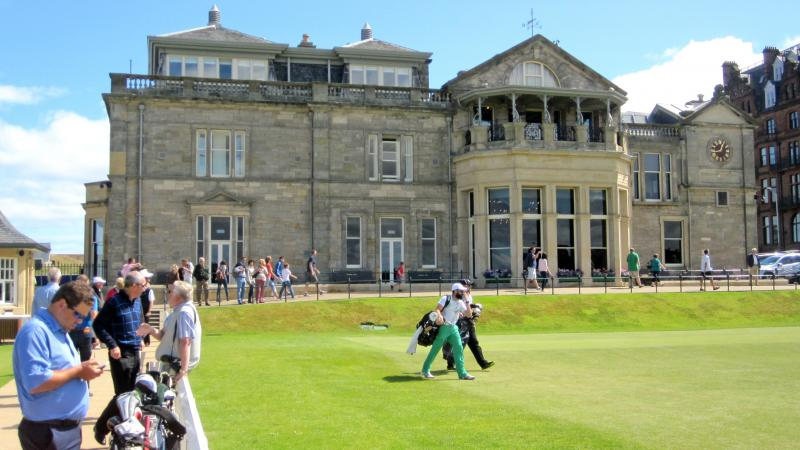 The clubhouse of the Royal and Ancient Golf Club of St. Andrews sits just off the first tee. The course itself is open to the public — women as well as men. But women have never been allowed to join the club since its founding in 1754, and are not allow