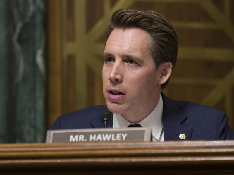 "Sen. Josh Hawley, R-Mo., speaks during a hearing of the Senate Judiciary Committee in March. He blames big tech for using ""exploitative and addictive practices in order to get us to spend more time on their platform."""