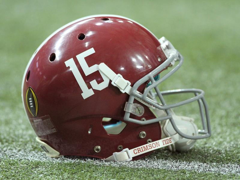 An Alabama helmet on December 31, 2016, at the Georgia Dome in Atlanta, GA.