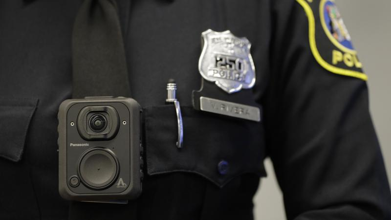 A Newark police officer wears a body camera last month. The cameras, which will be worn by officers as part of a federal monitoring agreement, are provided by Panasonic.
