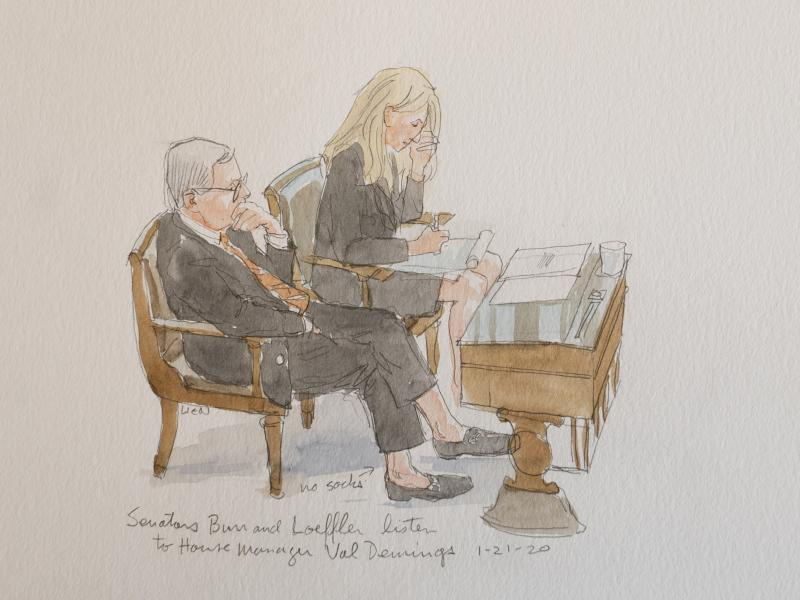"""North Carolina Sen. Richard Burr with Georgia Republican Kelly Loeffler. """"He caught my attention because he wasn't wearing socks. And he has very expensive loafers, or they seem that way. And so I did a sketch of him. And the next day, he had it as his pr"""