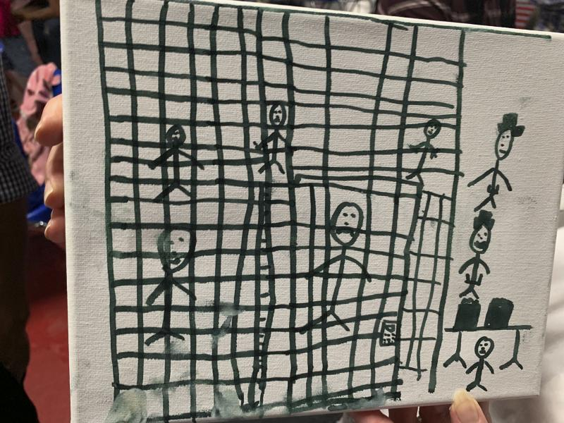 A drawing by a migrant child at the Catholic Charities Humanitarian Respite Center in McAllen, Texas.