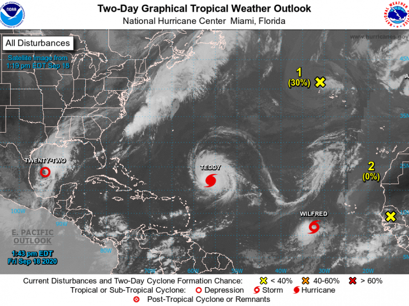 Satellite images of storms forming in the Atlantic Ocean. Tropical Storm Wilfred is the last named storm of the 2020 season using the English alphabet.
