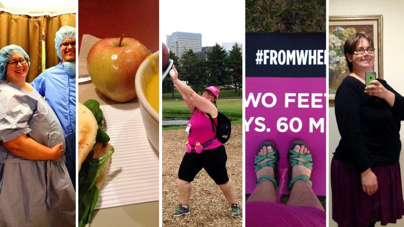 Photos from Liz Paul's blog entries on Prior Fat Girl. The blog chronicles women's weight loss journeys.