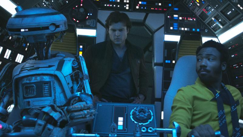Never tell him the odds: L3-37 (Phoebe Waller-Bridge), Han Solo (Alden Ehrenreich) and Lando Calrissian (Donald Glover) in Solo: A Star Wars Story.