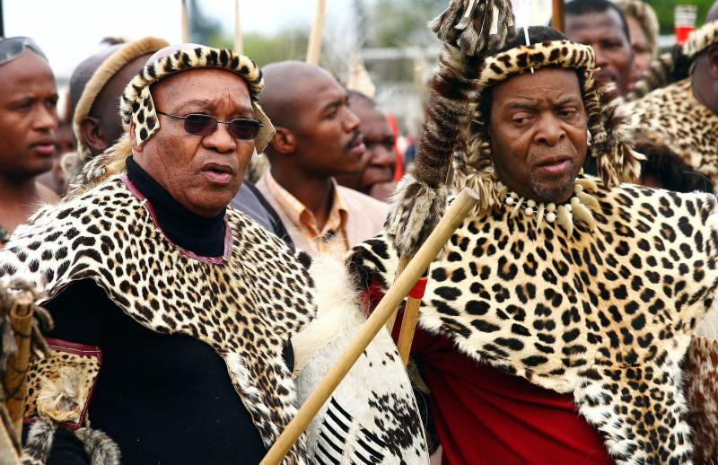 Jacob Zuma (left) — then the president of the African National Congress party, and today the president of South Africa — joins Zulu King Goodwill Zwelithini (right) in 2008 to honor the birth of King Shaka, the founder of the Zulu nation.