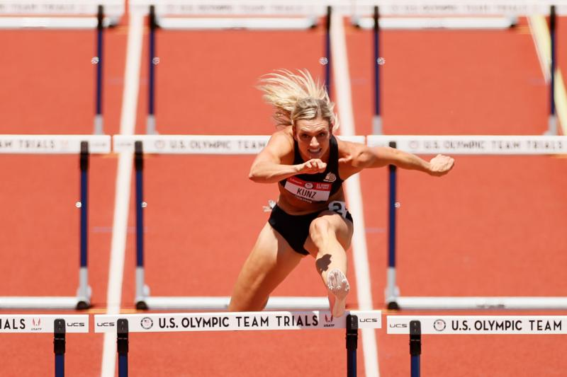Annie Kunz in the women's heptathlon 100-meter hurdles during the Olympic trials in Eugene, Ore., in June. Building her training regimen around recent findings from sex-specific sports medicine research has made a difference in her performance, says Kunz,