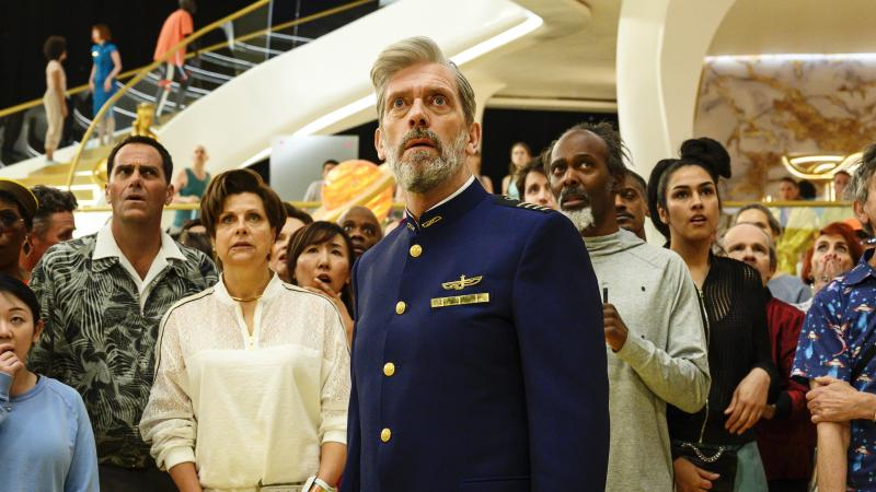 Captain Ryan Clark (Hugh Laurie) spends a lot of time looking aghast in HBO's Avenue 5.