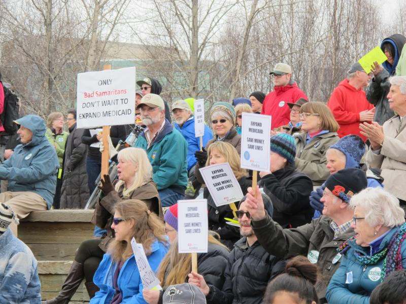 Alaskans attend a rally in Anchorage for Medicaid expansion.