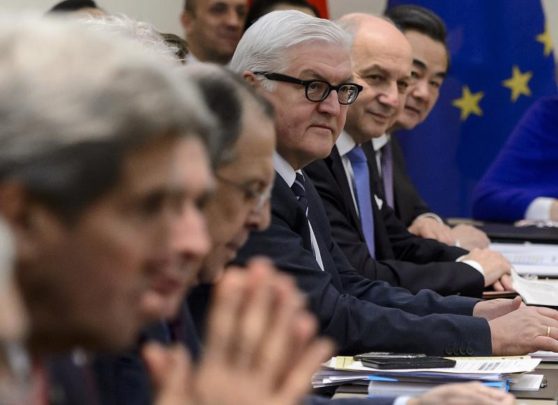Ahead of Tuesday's deadline, Secretary of State John Kerry, Russian Foreign Minister Sergei Lavrov, German Foreign Minister Frank-Walter Steinmeier, French Foreign Minister Laurent Fabius and Chinese Foreign Minister Wang Yi wait Monday for the opening of