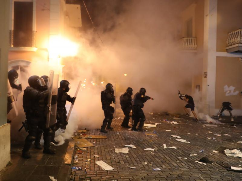 Police used tear gas against protesters on Wednesday in Old San Juan, Puerto Rico.