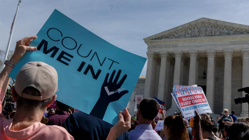 Protesters holding signs about the 2020 census gather outside the Supreme Court in Washington, D.C., in 2019.