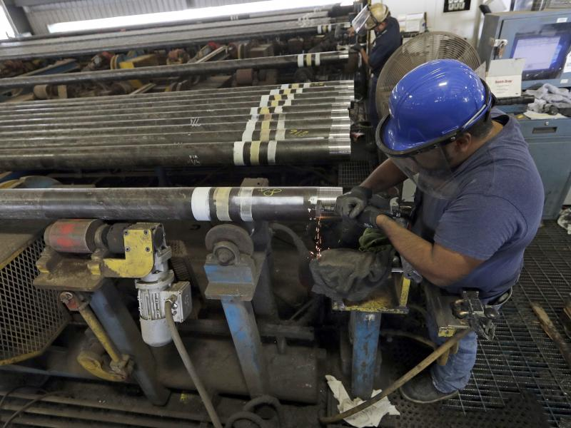 Jerry Castillo prepares a steel pipe at the Borusan Mannesmann Pipe manufacturing facility Tuesday, June 5, 2018, in Baytown, Texas. The company is seeking a waiver from the steel tariff to import tubing and casing.