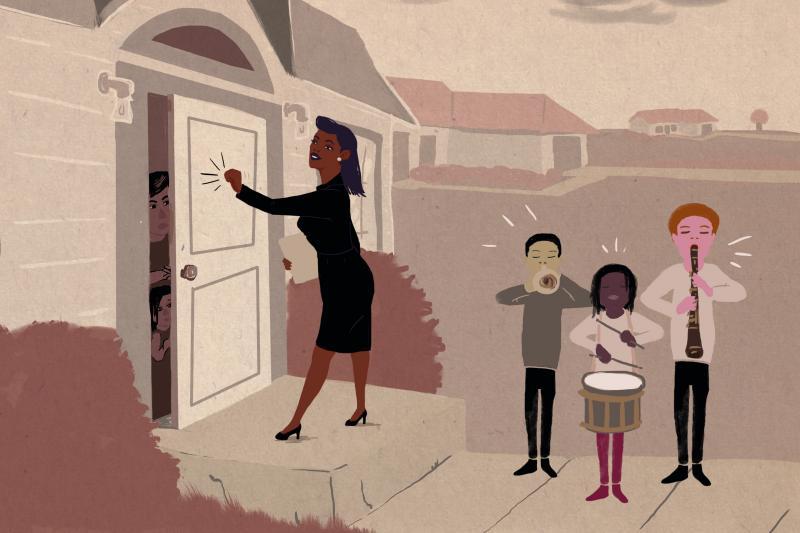 Teachers in Nashville, Tenn., are knocking on doors to recruit students for public school.